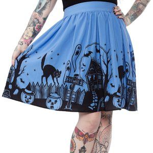 Spooky Haunted House Halloween Skirt